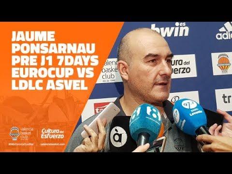 Jaume Ponsarnau pre J1 7DAYS Eurocup vs LDLC ASVEL Villeurbanne