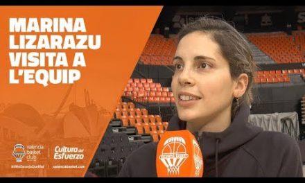 Marina Lizarazu visita al equipo