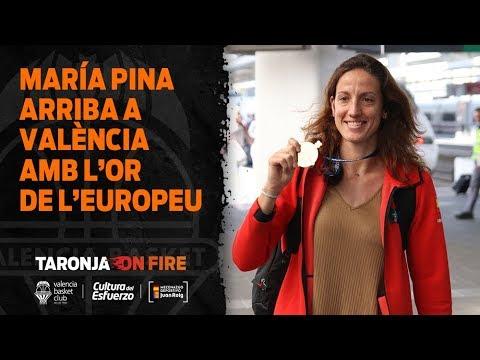 María Pina llega a Valencia tras conseguir el Oro en el Eurobasket