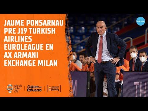 Jaume Ponsarnau Pre J19 Euroliga vs AX Milan