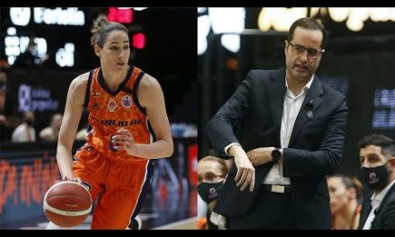 Rebecca Allen y Santi Pérez post J1 Eurocup Women vs Basket Hema SKW