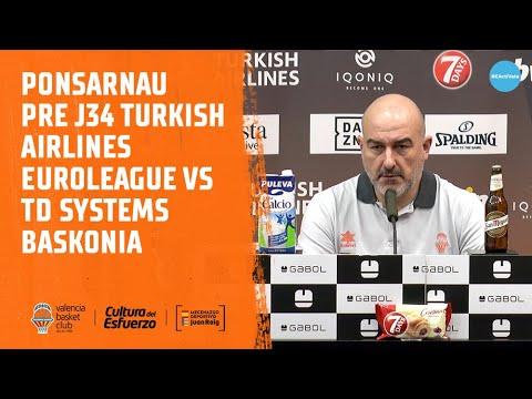 Jaume Ponsarnau pre J34 Turkish Airlines EuroLeague vs TD Systems Baskonia