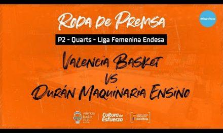 Rueda de prensa post vuelta 1/4 LF Endesa vs Durán Maquinaria Ensino
